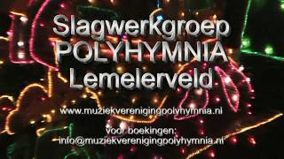 Slagwerkgroep Polyhymnia tijdens verlichte Carnavals optocht Lemelerveld