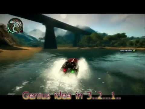 Just Cause 2 Boat Driving, Car Diving, Jet Crashing Master!