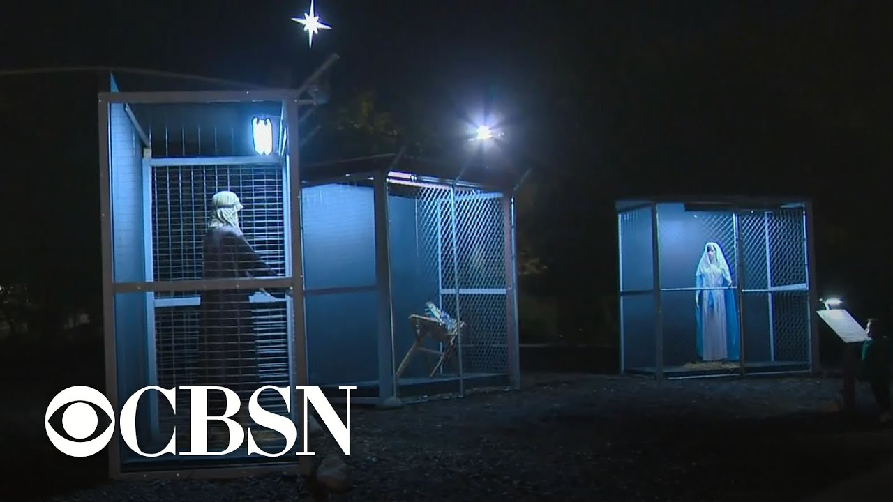 Church nativity scene depicts holy family as caged refugees