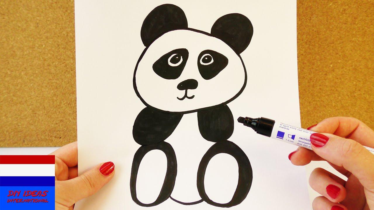 Zeer Hoe teken je een panda? | schattige panda om na te tekenen  GQ02