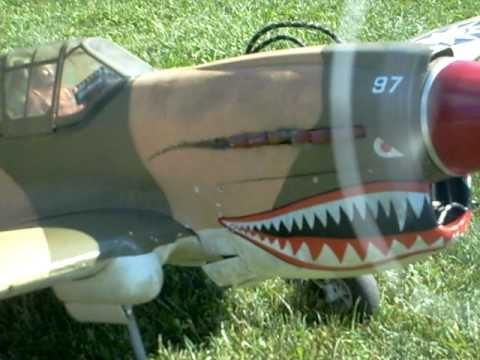 Top-Flite P-40 Warhawk at airfield...