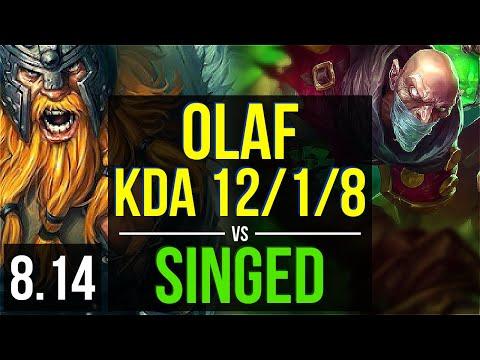 OLAF vs SINGED (TOP) ~ KDA 12/1/8, Legendary ~ Korea Diamond ~ Patch 8.14