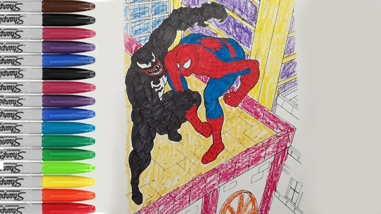 Spiderman Fighting Coloring Pages Spiderman Vs Venom On