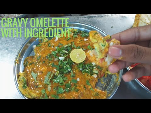 Gravy omelette with ingredient's (50INR) Surat street food || indian street food || food and culture
