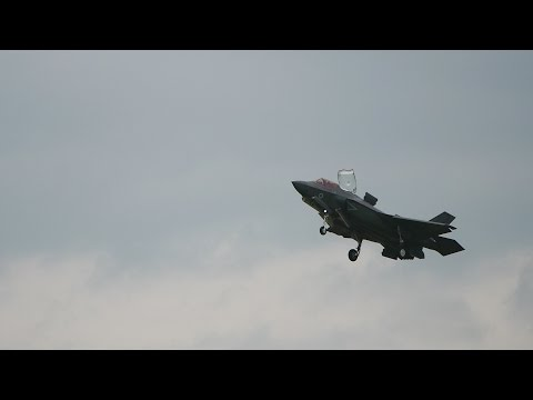 RIAT 2016 Airshow F-35B Stealth fighter Display, Vertical Landing, with Red Arrows / Typhoons