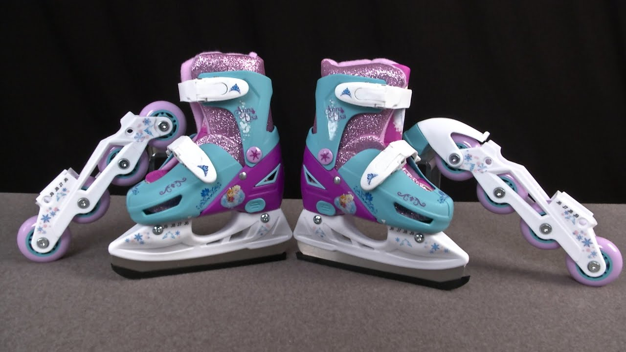 PlayWheels Frozen 2 In 1 Convertible Ice Skates From Bravo Sports