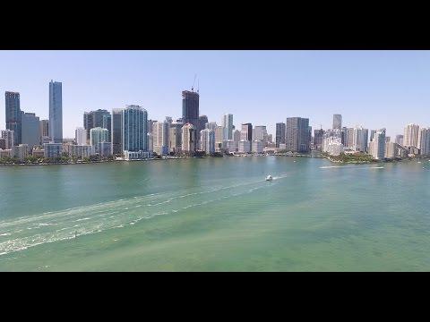Miami Skyline Biscayne Bay and Brickell Phantom DJI Drone aerial views