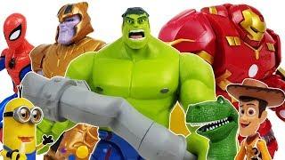 Disney Toybox Hulk & Hulkbuster vs Thanos Battle!, Avengers, Venom, Spider-Ham, Minions, Toystory