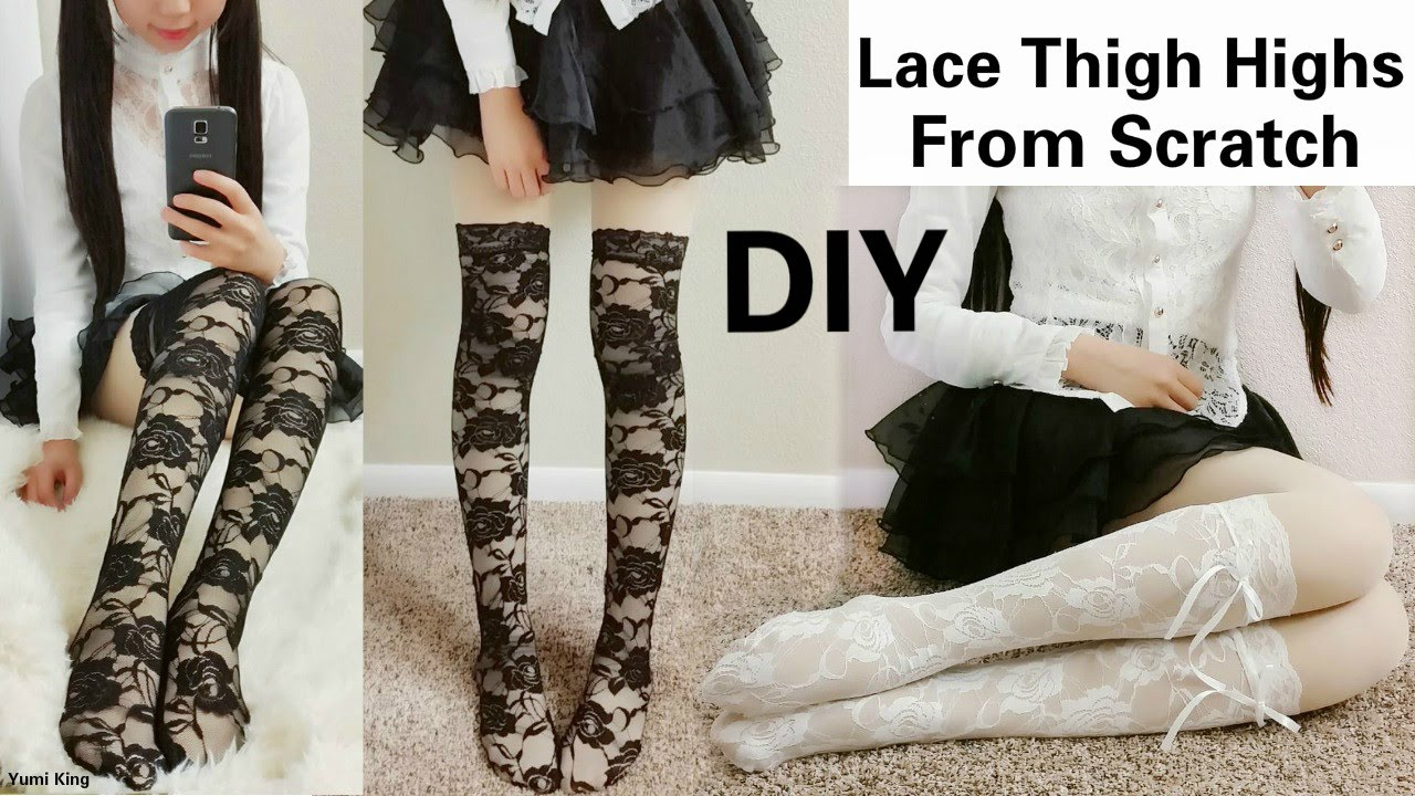 5987074cdd5 DIY Sexy Lace Thigh Highs Socks (From Scratch) in 15 Minutes - YouTube