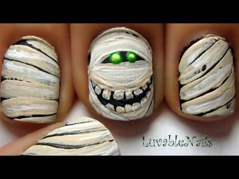 Mummy nail art by LuvableNails - YouTube