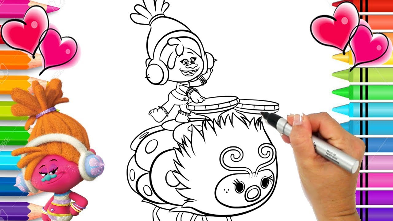 DJ Suki Trolls Coloring Page   Trolls Coloring Page with Glitter Printable  Trolls Coloring Book