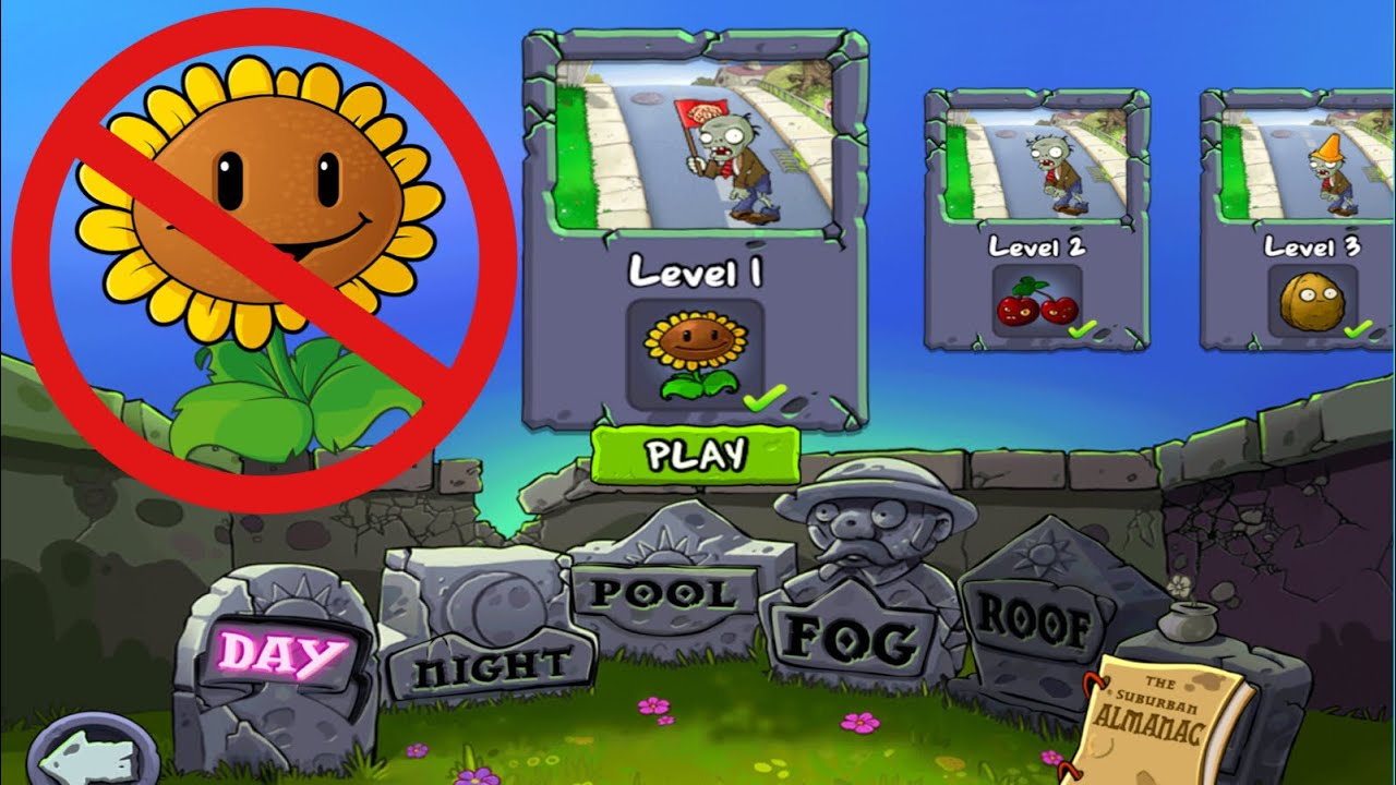 No Sunflower เล่นชนะโดยไม่ใช้ดอกทานตะวัน Plants vs Zombies HD (Tablet version /iPad) พืชปะทะซอมบี้ 1