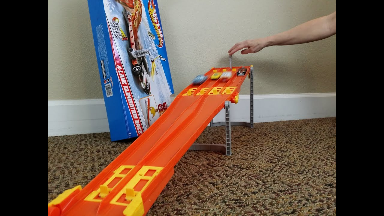 hot wheels elimination race cars ramp fun car truck competition toy video kids toy channel