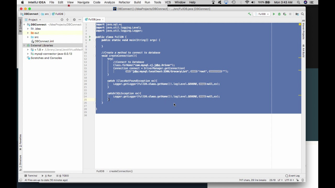 Connect, Query & Select with MySQL Workbench and IntelliJ on Mac