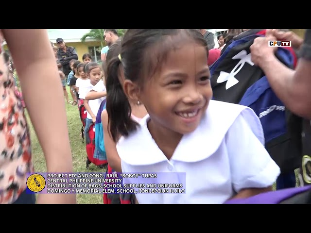 PROJECT ETC CPU DISTRIBUTION OF BAGS, SCHOOL SUPPLIES AND UNIFORMS AT DOMINGO Y MEMORIAL ELEMENTARY