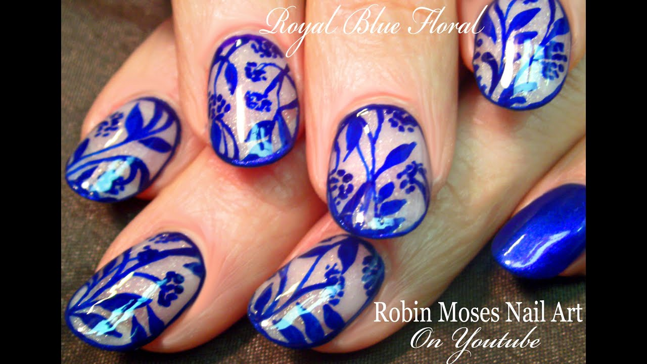 Diy blue flower nail art design tutorial youtube prinsesfo Image collections