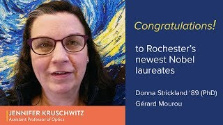 Congratulations from Jen Kruschwitz to Donna Strickland