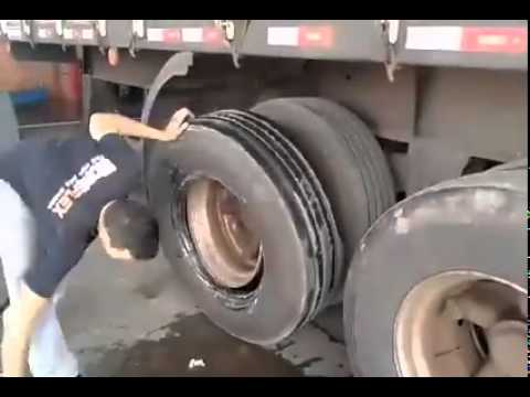 Guy Changes Tire in About a Minute While Still on Semi Truck!
