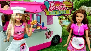 Barbie Food Truck Fast Food Work Routine - Play Toy Food With Elsa Spiderman Miraculous Dolls