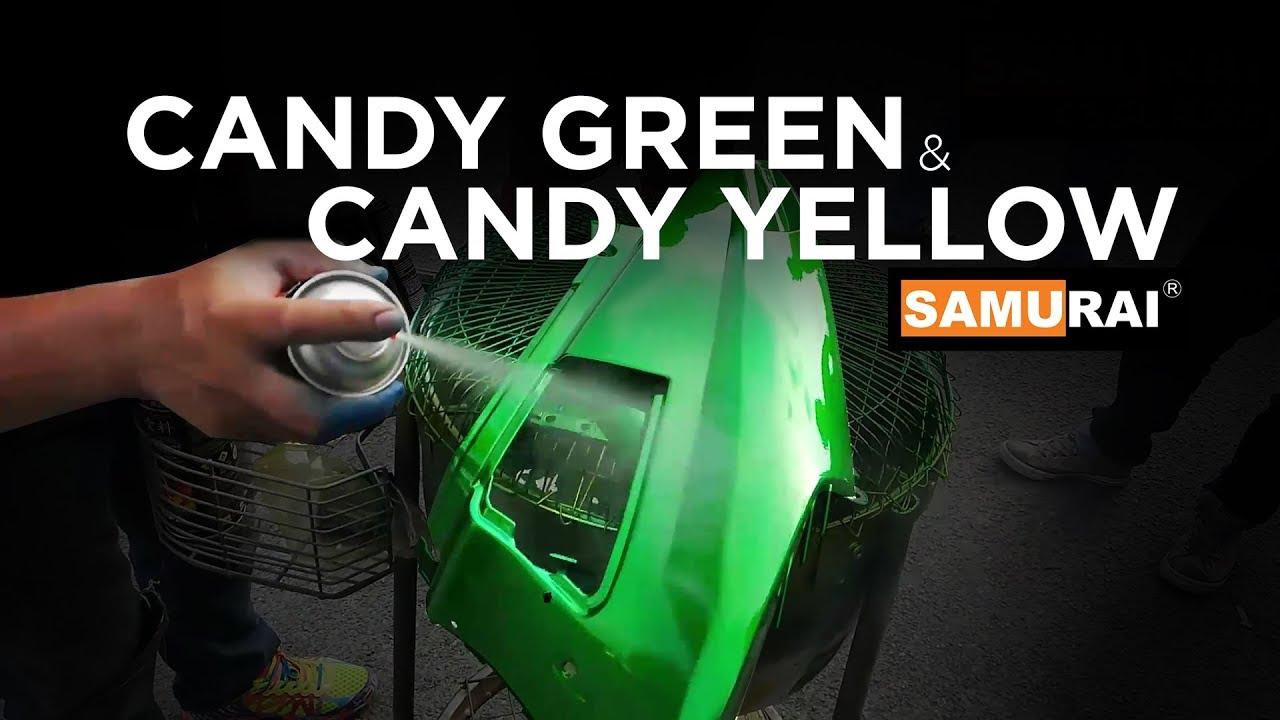 Candy Green and Candy Yellow spray on Motor Body Part Suzuki V100- Samurai  Paint Malaysia