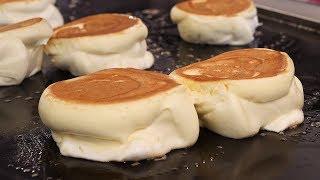 부드럽고 촉촉한 수플레 팬케이크 (egg souffle pancake, パンケーキ, 餅子 12,000KRW) korean street food / 강남역 19티