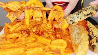 ASMR ROSE TTEOKBOKKI 배떡 로제 떡볶이 먹방 MUKBANG EATING SOUNDS.