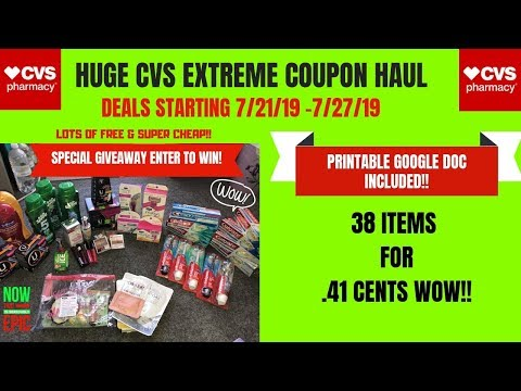 MASSIVE CVS EXTREME COUPON HAUL DEALS STARTING 7/21/19~38 ITEMS ONLY.41CENTS 😍PLUS SPECIAL GIVEAWAY
