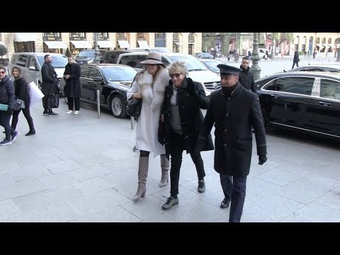 EXCLUSIVE : Rod Stewart and wife Penny Lancaster arrive at Ritz hotel in Paris