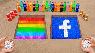 POP IT \u0026 FACEBOOK Logo in the Hole with Orbeez, Coca Cola, Mentos \u0026 Popular Sodas