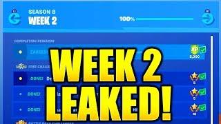 FORTNITE SEASON 8 WEEK 2 CHALLENGES LEAKED! WEEK 2 ALL CHALLENGES EASY GUIDE WEEK 2 CHALLENGES!