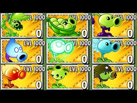 All Pea Plants LEVEL 1000 Power-Up! In Plants Vs Zombies 2