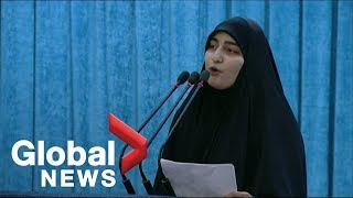 Daughter of late Iranian commander Soleimani speaks at funeral procession, warns U.S. of 'dark days'
