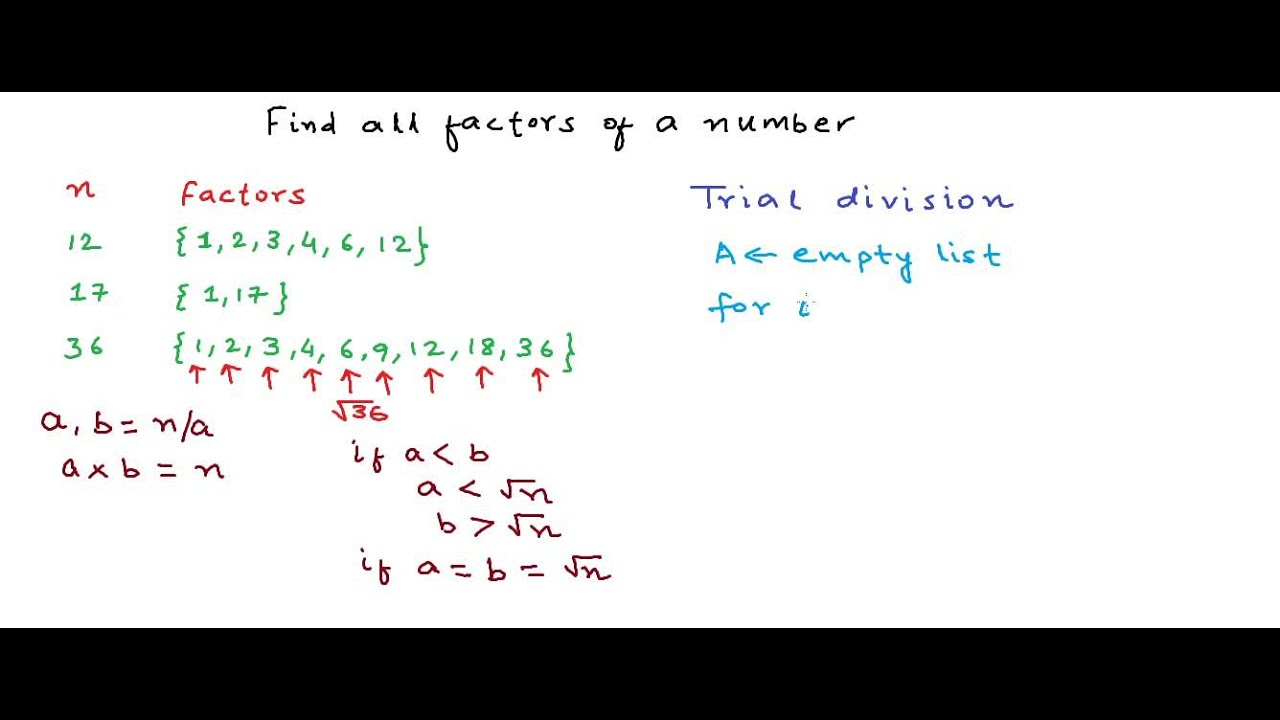 Finding all factors of a number - YouTube