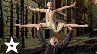 Акробатические трюки от отца и дочки. Сергей и Марина Баля. Україна має талант-6