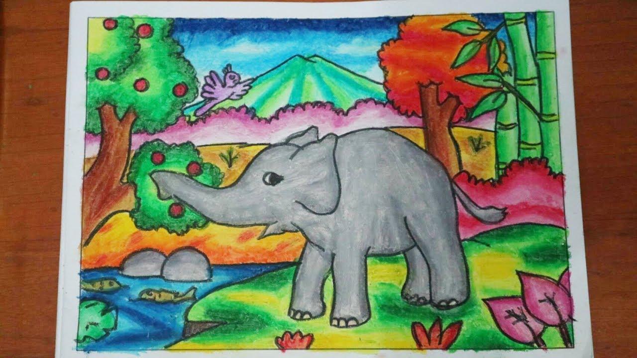 Cara Mewarnai Gambar Dengan Crayon : Gajah How To Color With Oil