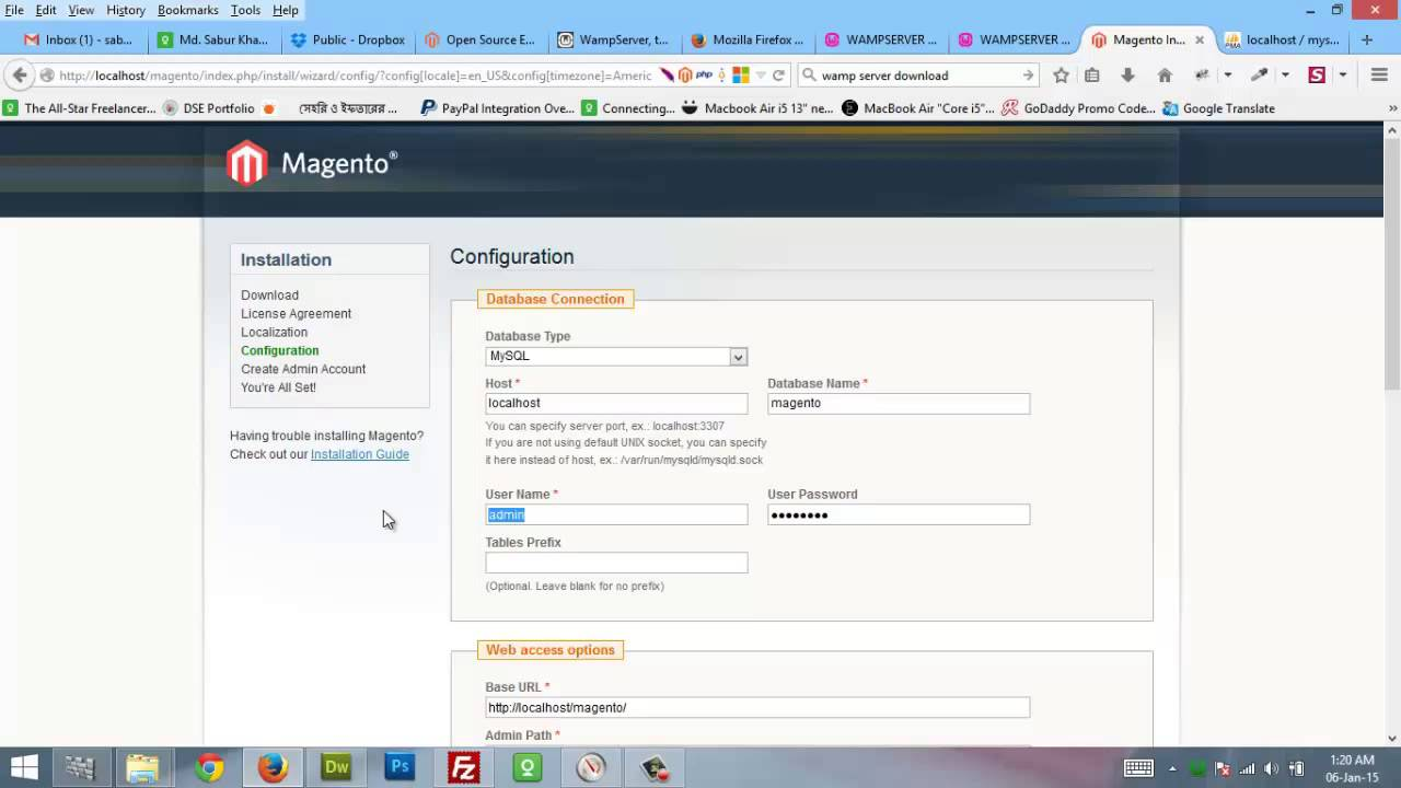 how to open wamp server localhost