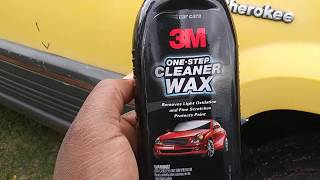 3m all in one cleaner wax demo on faded yellow paint wow