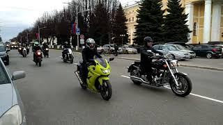 Мотоколонна на улице Комсомольской в Йошкар-Оле