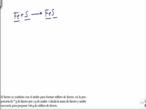 Quimica 1º bachillerato ley de proporciones definidas Proust ejercicio resuelto