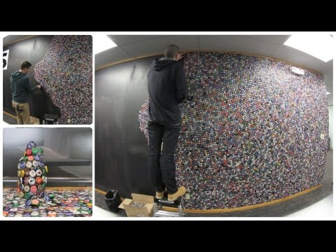 Bottle Cap Wall - 50,000 Bottle Caps on our Wall in 2 minutes