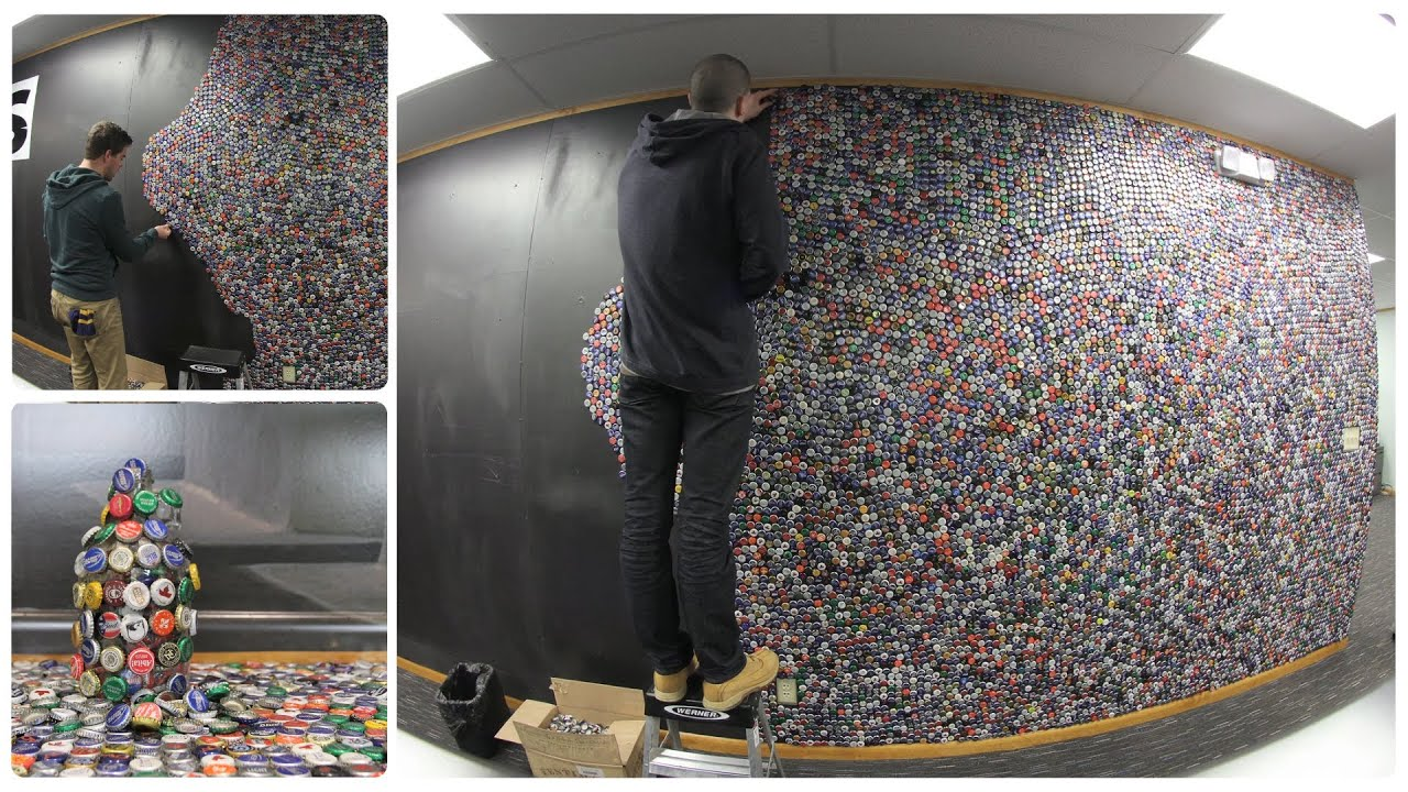 Bottle Cap Wall Art bottle cap wall - 50,000 bottle caps on our wall in 2 minutes