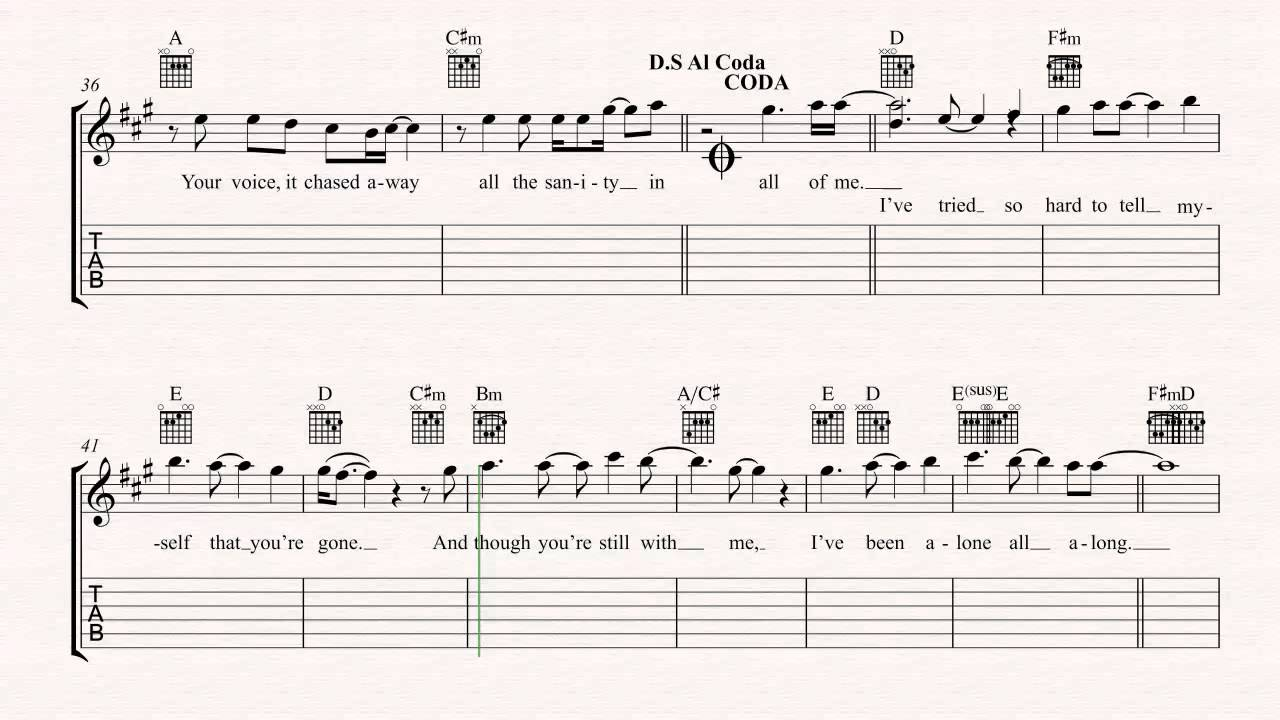 Guitar My Immortal Evanescence Sheet Music Chords Vocals