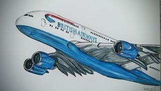 British Airways, Airbus A-380 Drawing timelapse
