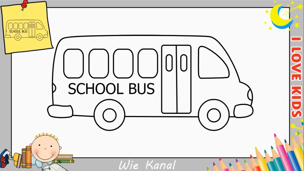 bus zeichnen schritt f r schritt f r anf nger kinder. Black Bedroom Furniture Sets. Home Design Ideas