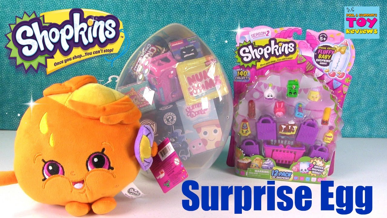 Shopkins Giant Surprise Egg Opening Kidrobot Squinkies