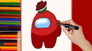 Como dibujar AMONG US personaje Flor Rosa