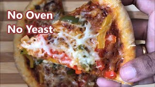 No Oven  No Yeast Veg pizza video | Homemade vegetarian pizza without yeast recipe
