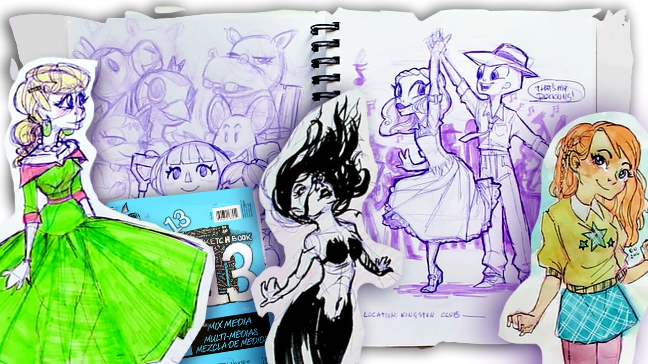 My Old Sketchbook 13 Watercolors And Highlighters Youtube