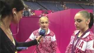 Aliya Mustafina and Viktoria Komova interview after AA medal ceremony