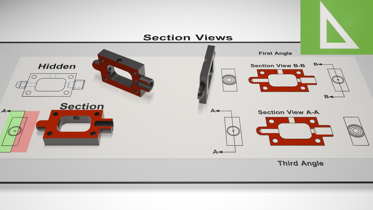 Section views in engineering drawing cad the basics youtube malvernweather Gallery